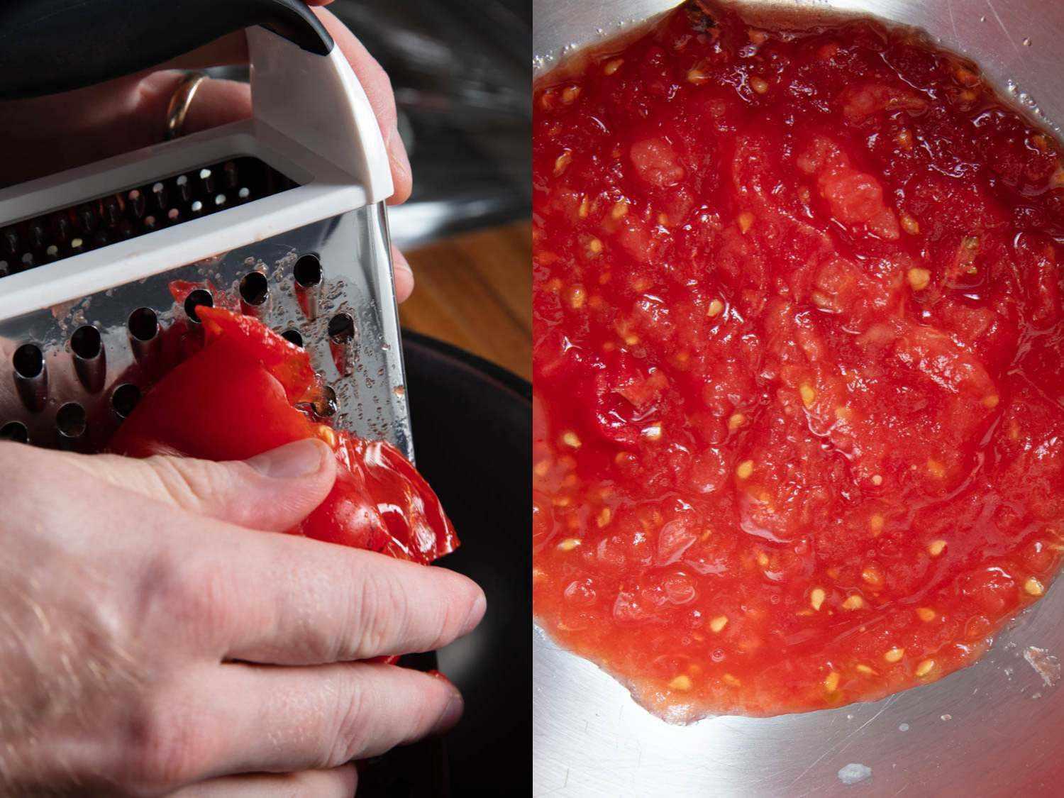 Photo collage of grating fresh tomato with a box grater.