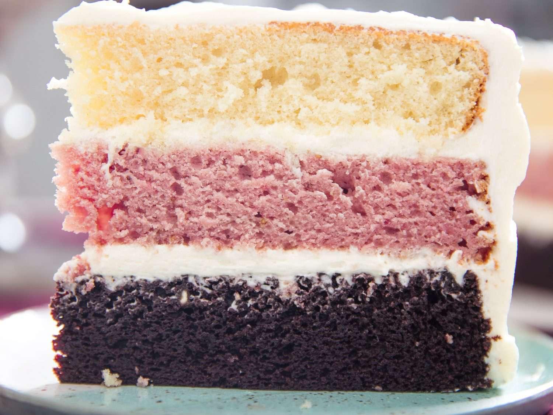 close up of Neapolitan layer cake