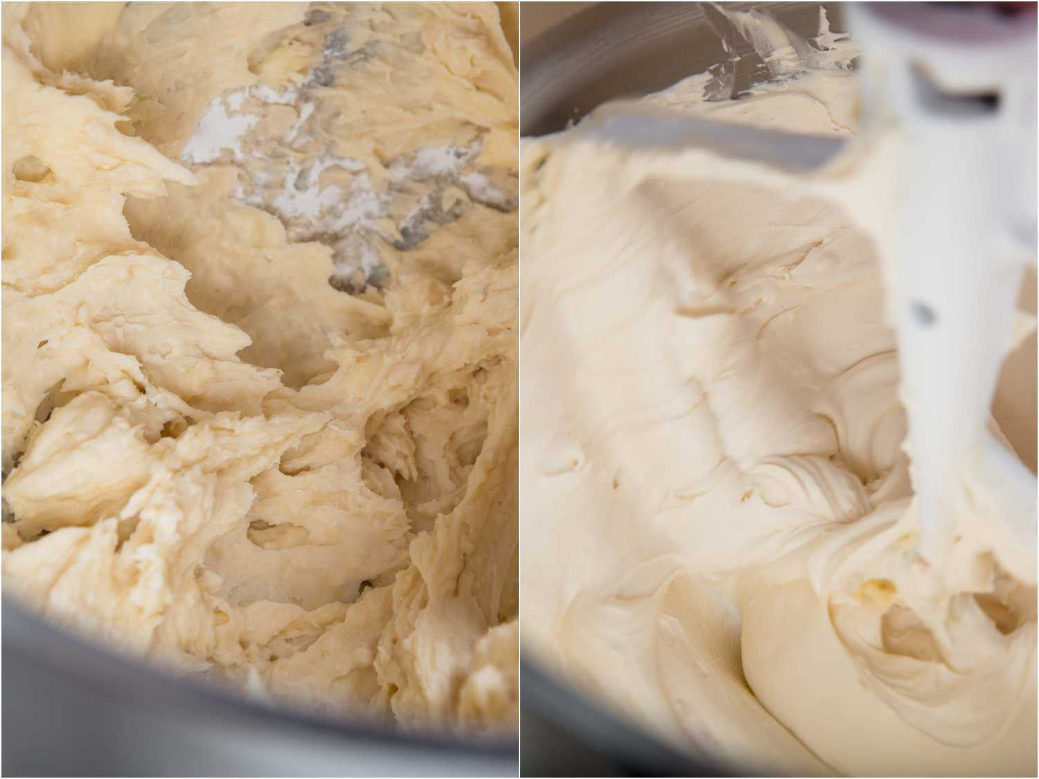 before and after creaming American buttercream