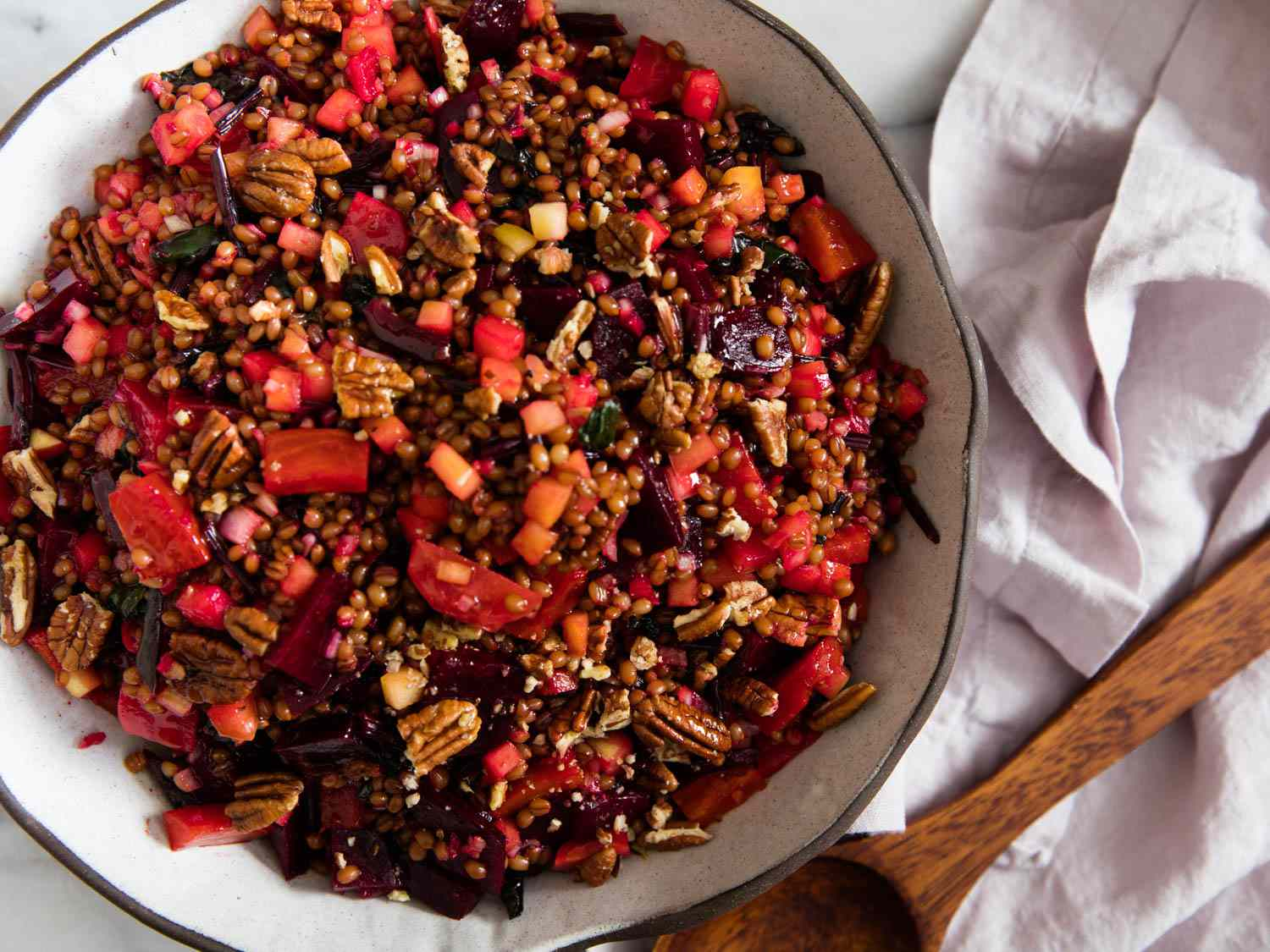 Beet and Wheat Berry Salad With Pickled Apples and Pecans