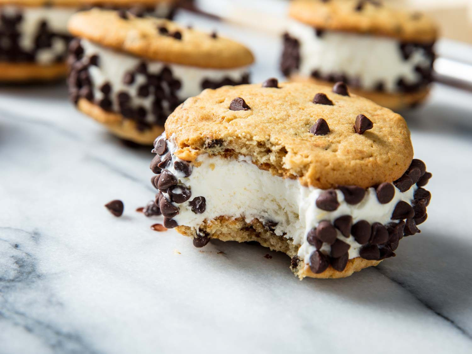 ice cream sandwich with chocolate chip cookies