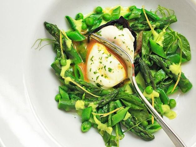 Spring Salad of Asparagus, Ramps, Snap Peas, and Peas With Poached Egg and Lemon Zest Vinaigrette
