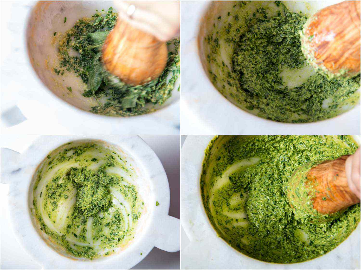 Photo collage showing pounding basil leaves into garlic and pine nuts to make pesto sauce in a marble mortar with wooden pestle.
