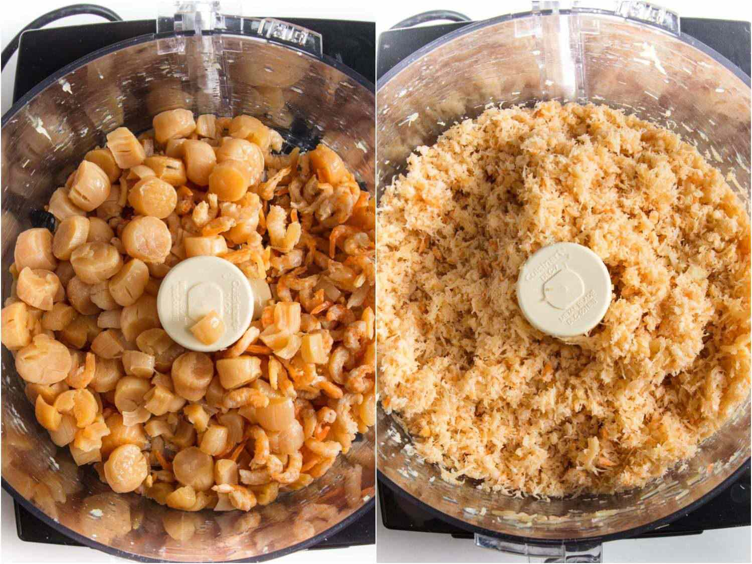 Processing rehydrated scallops and shrimp together makes for an overly-chopped texture.