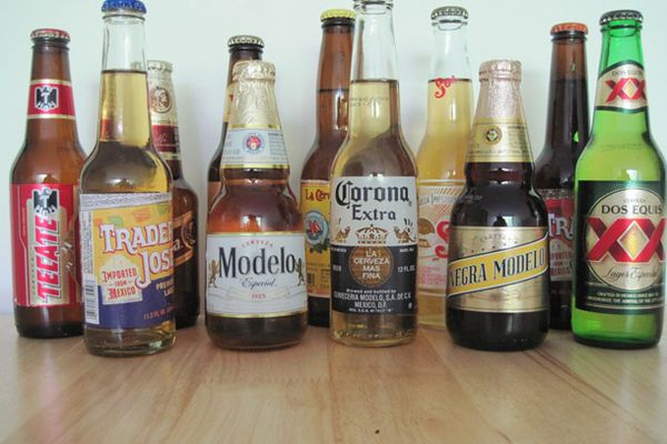 An assortment of Mexican beers.