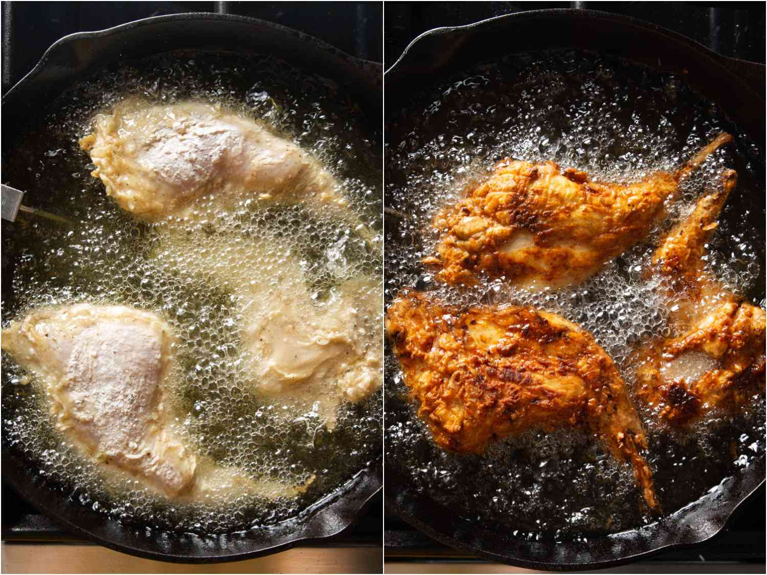 Collage of two photos of brined and dredged rabbit pieces being fried in a cast iron skillet