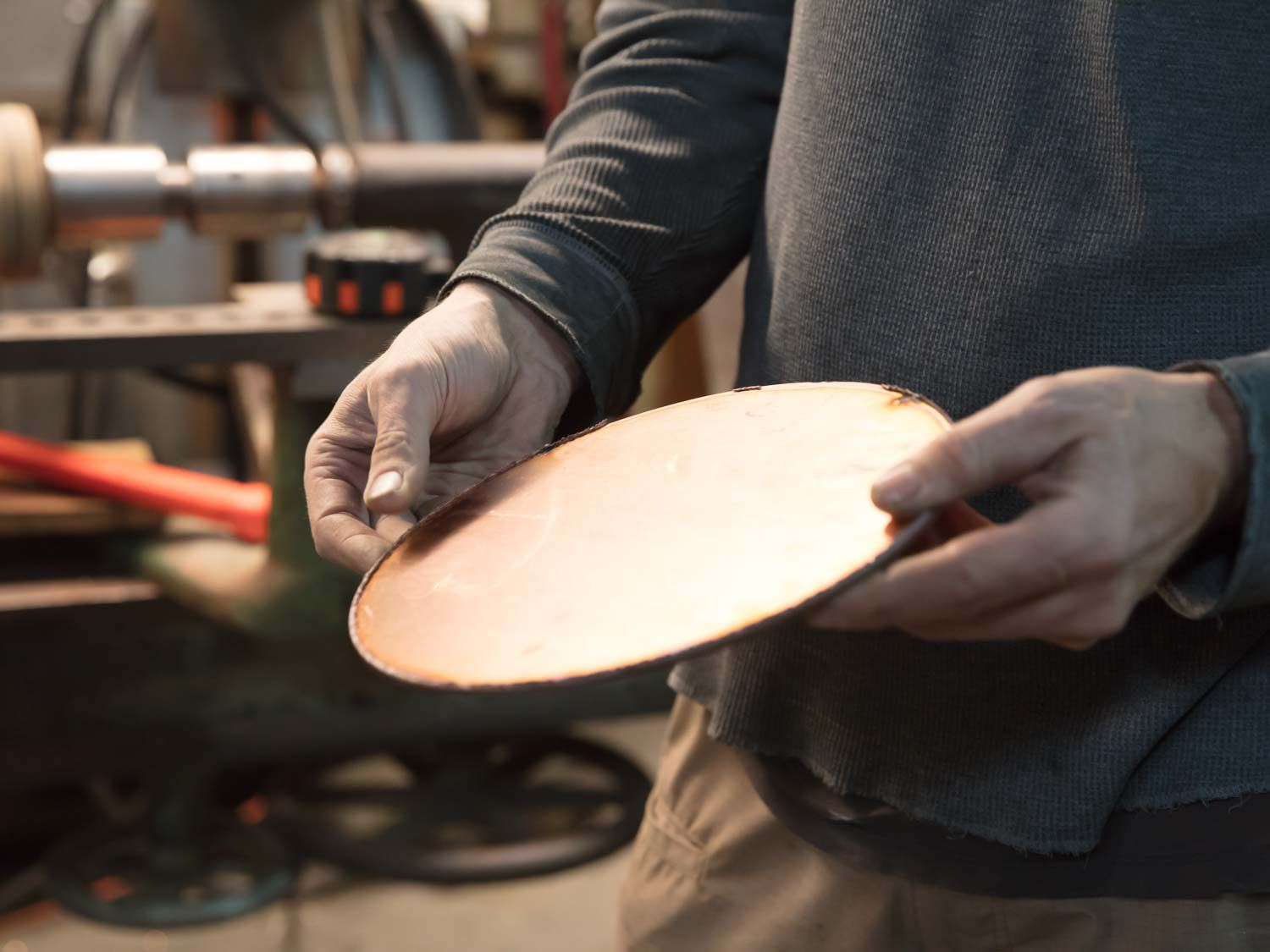 A blank disc of copper ready to be spun into a pan