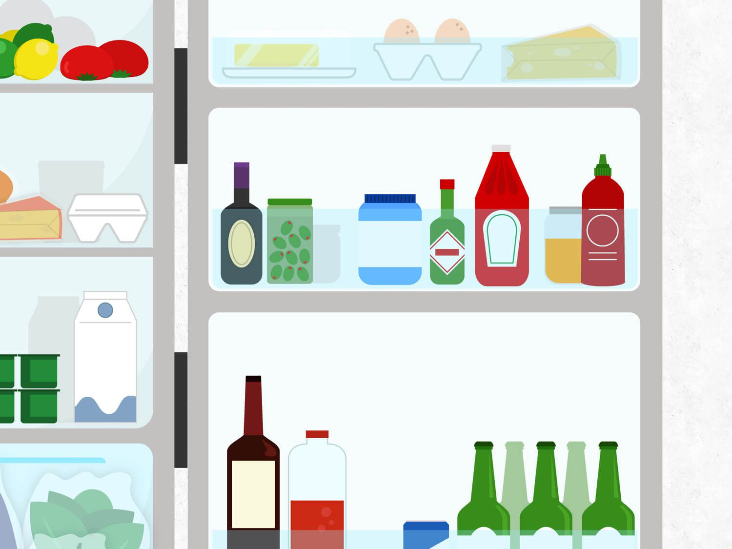 Graphic illustration of the side shelves on a refrigerator door, holding various bottles and jars, eggs, butter, and cheese