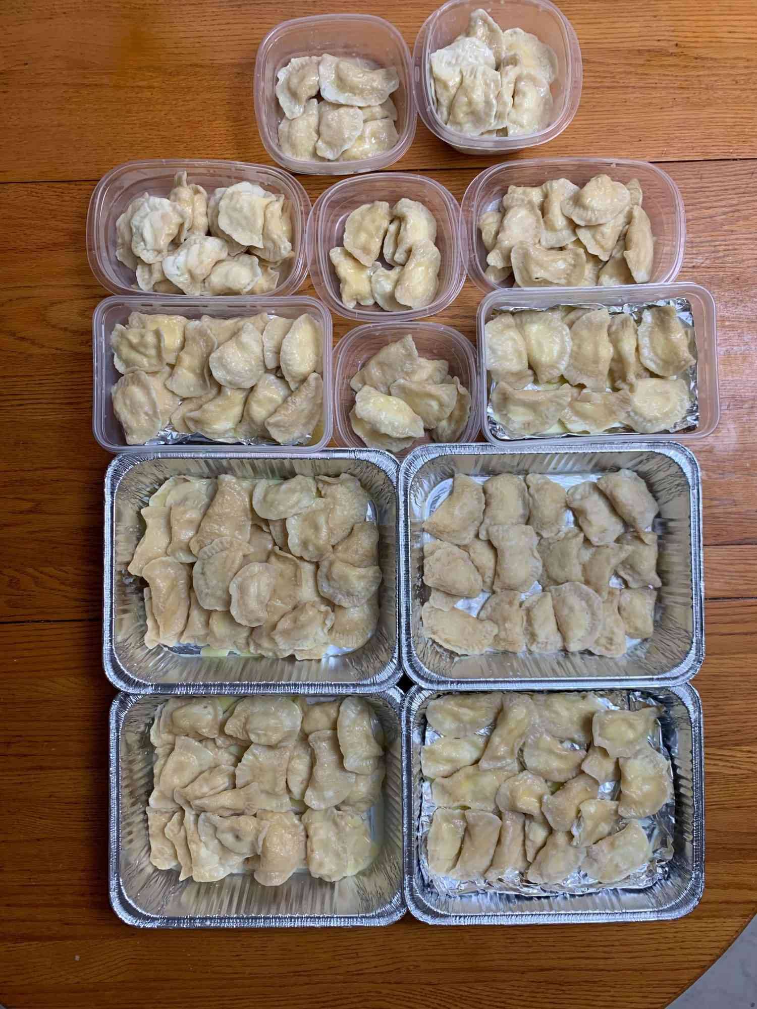 pierogi all portioned out