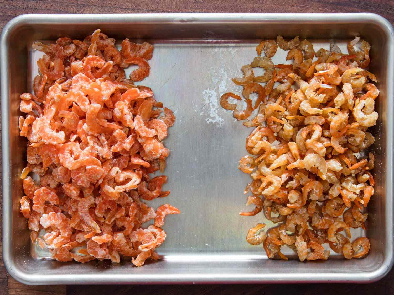 Comparison of two types of dried shrimp.