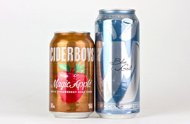 Cans of Cider Boys and Blue Gold ciders.