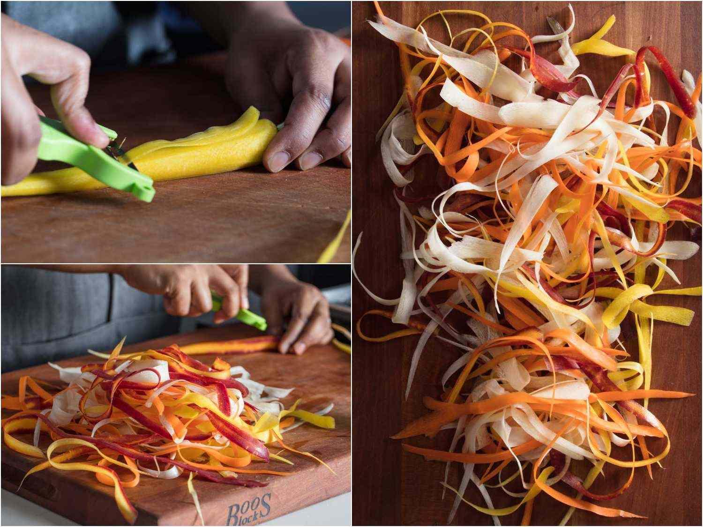 peeling carrot strips