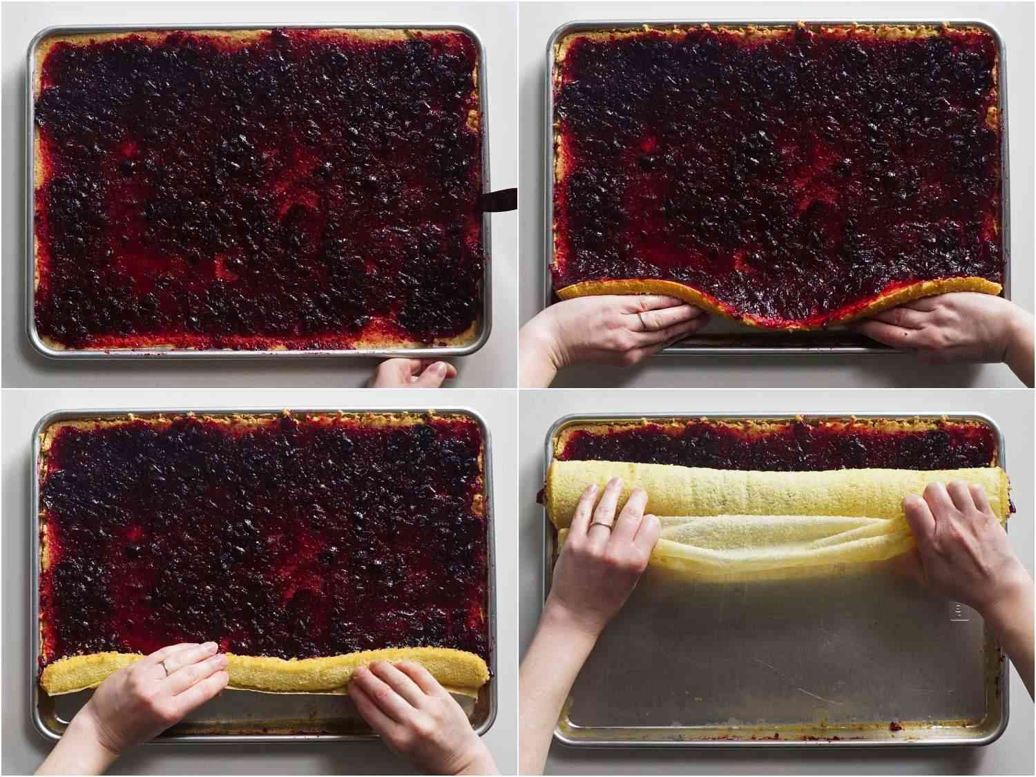 Rolling the sheet cake with cranberry jam