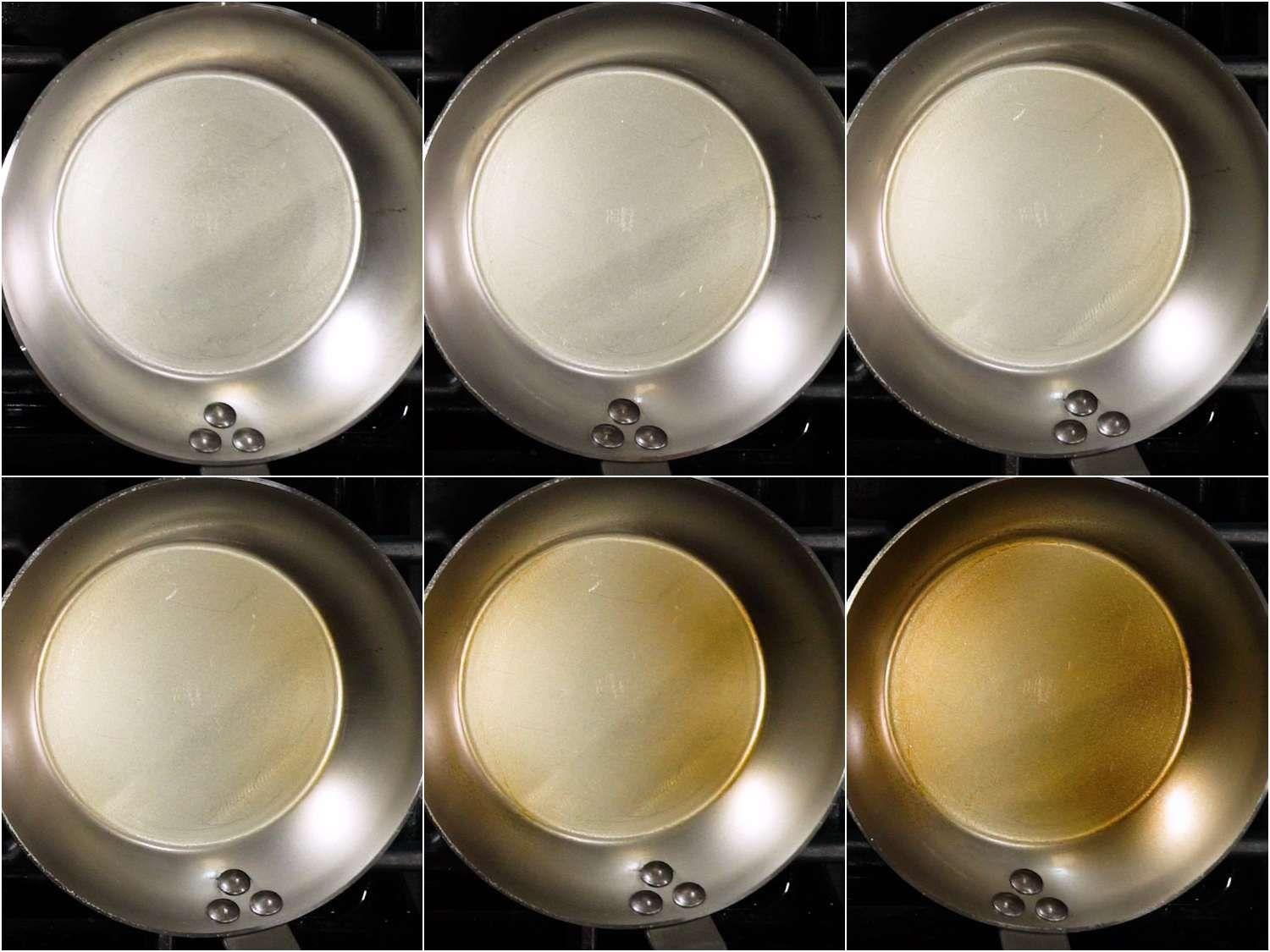 A time-lapse sequence showing seasoning forming on a new carbon steel pan (the pan goes from a metallic color to brown)