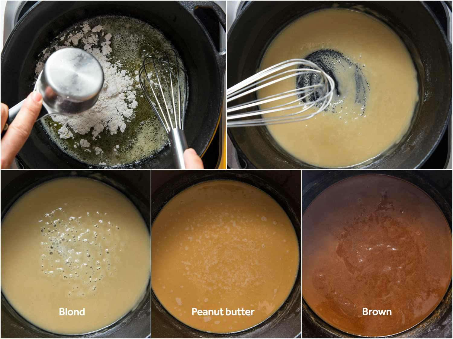 Making a roux by cooking flour with butter, with a collage showing different stages of doneness (blond, peanut butter, brown)