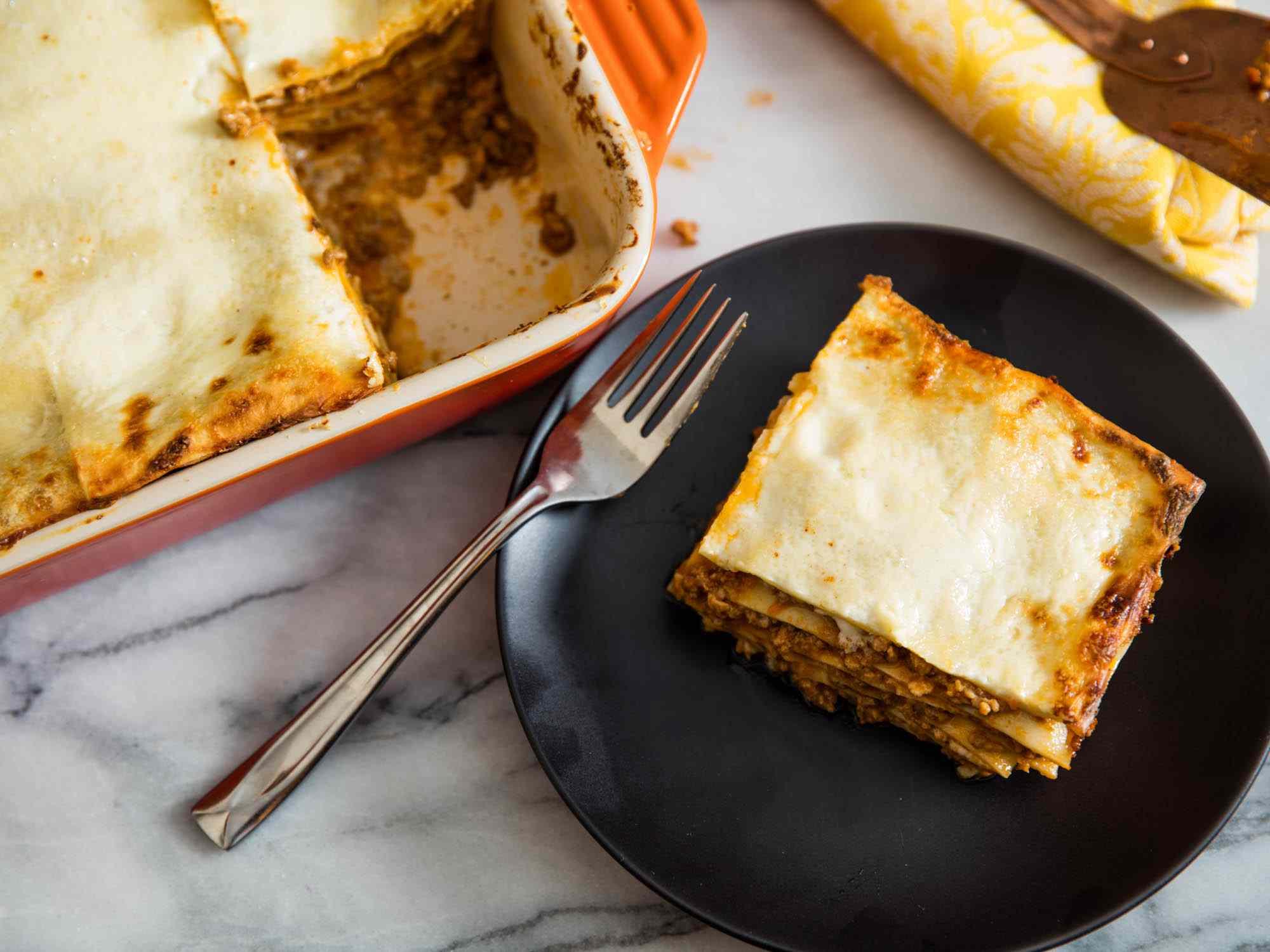 A serving of lasagna bolognese.