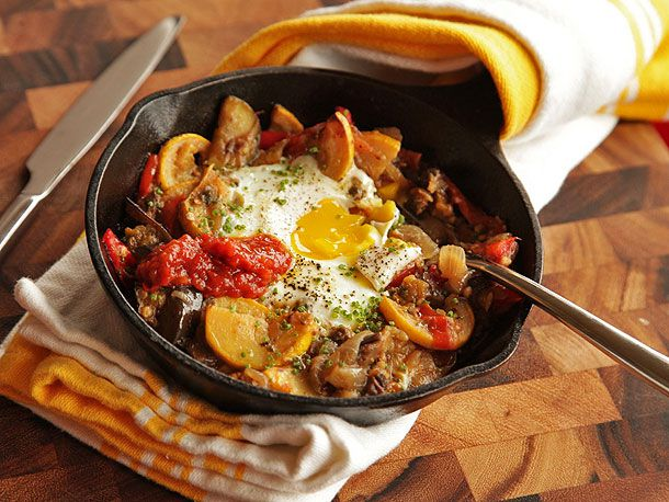 Eggplant, Squash, and Cherry Tomato Hash With Baked Eggs