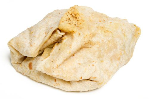 A roti, the West Indies sandwich with flatbread wrapped around the filling