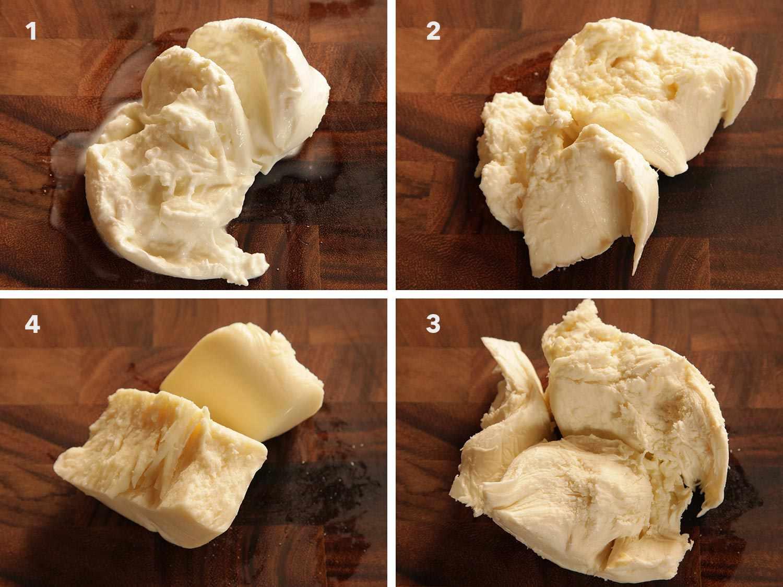 Collage comparing imported buffalo-milk mozzarella, locally-made water-packed mozzarella, national brand of