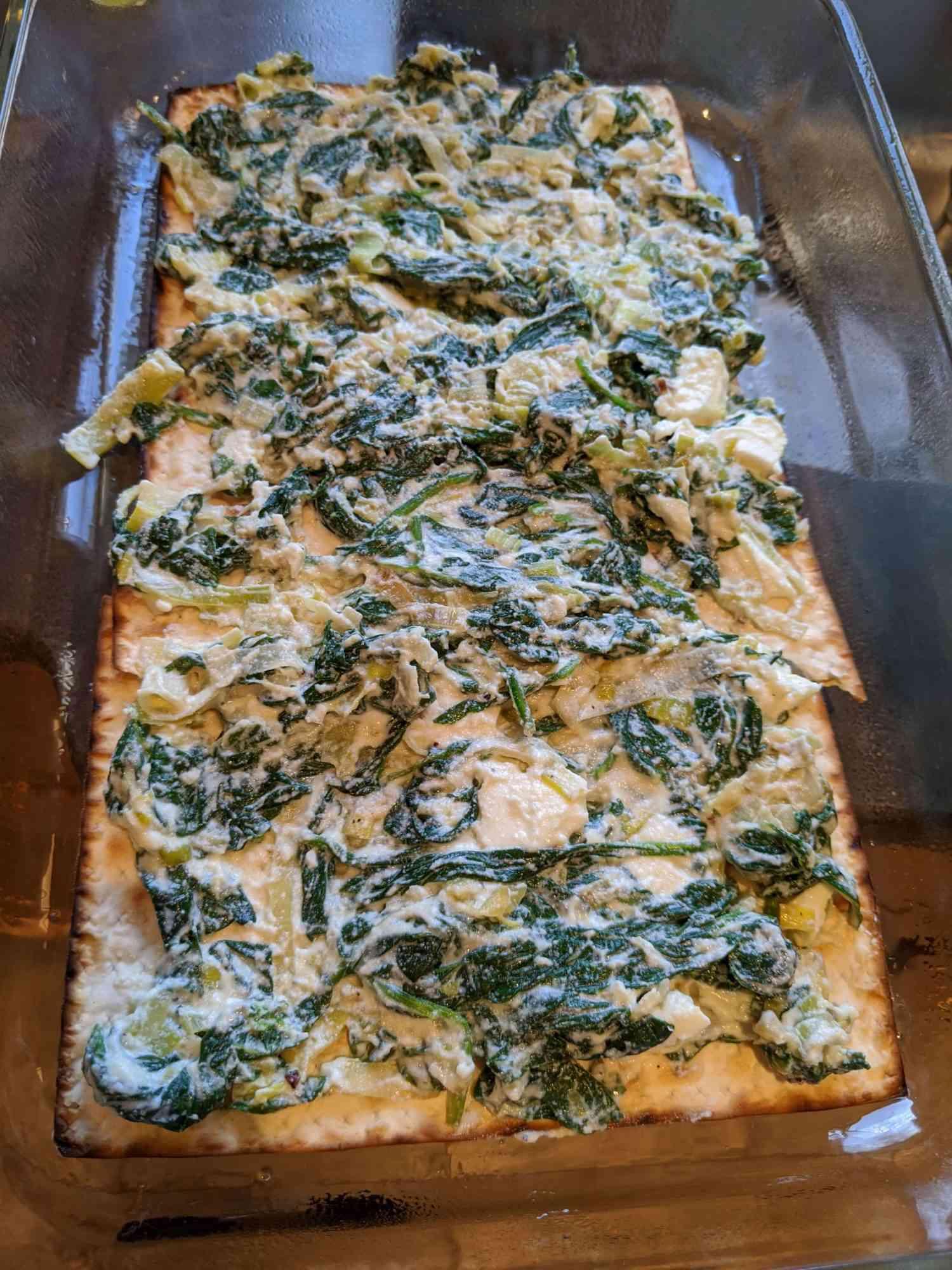 Spinach and leek matzah lasagna