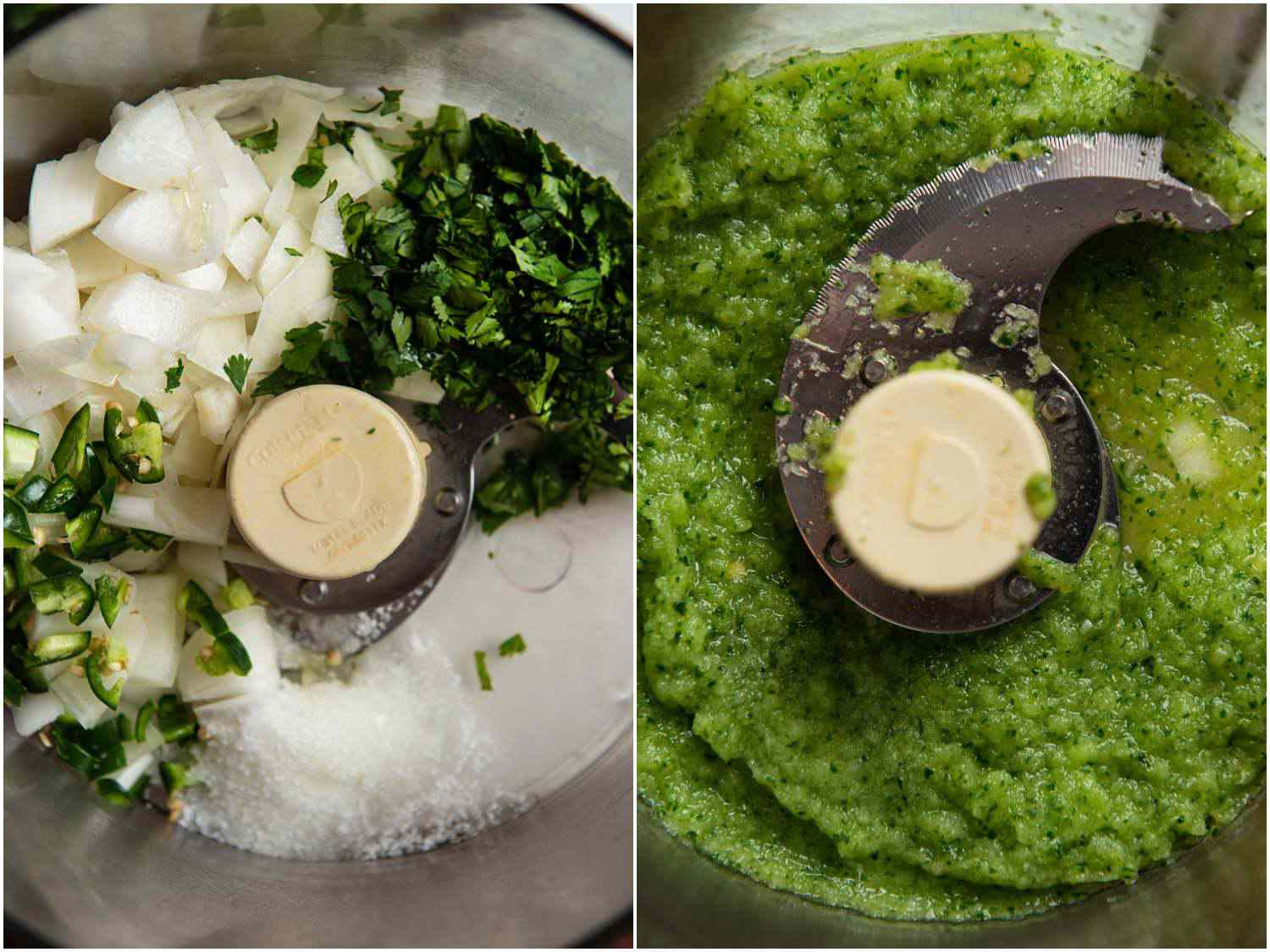 Side by side images of onion, chiles, lime juice, salt, and cilantro before and after being chopped in a food processor
