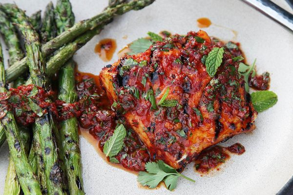red curry marinated halibut