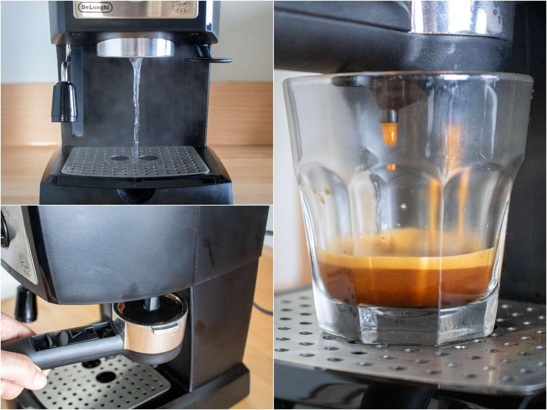 collage: the The DeLonghi EC155M espresso machine in use