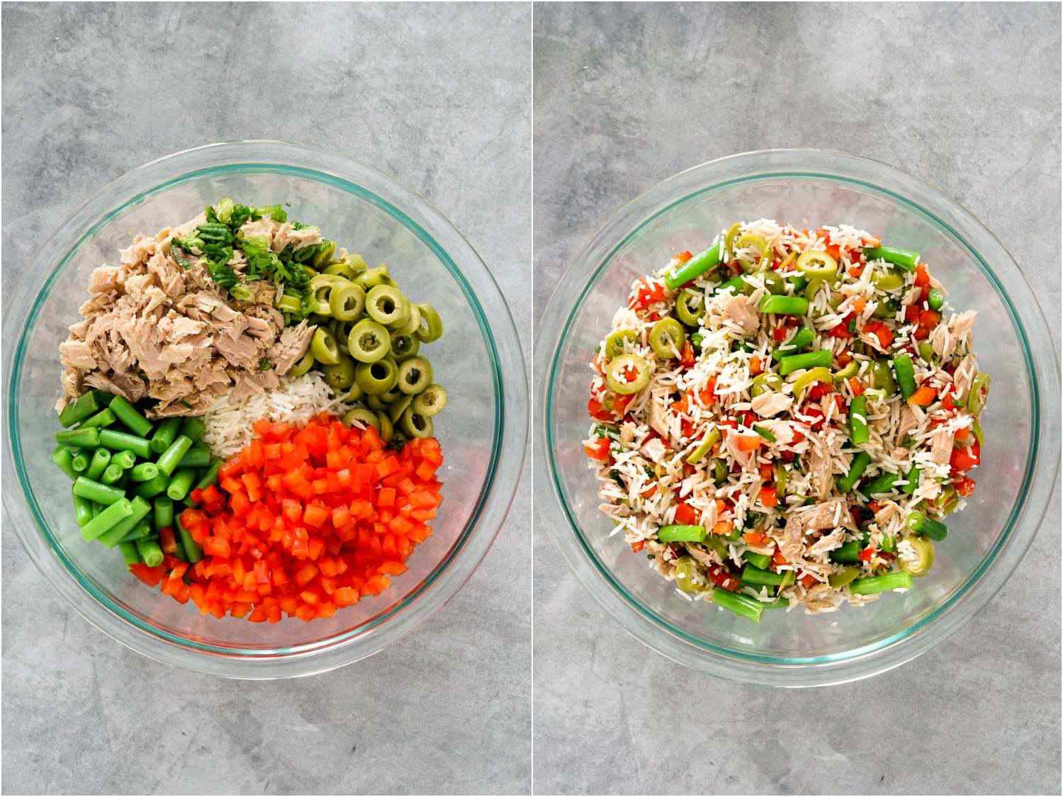 collage: ingredients for rice salad in a bowl and then tossed together