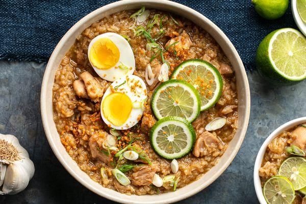 an overhead photo Arroz Caldo (Filipino chicken and rice soup)