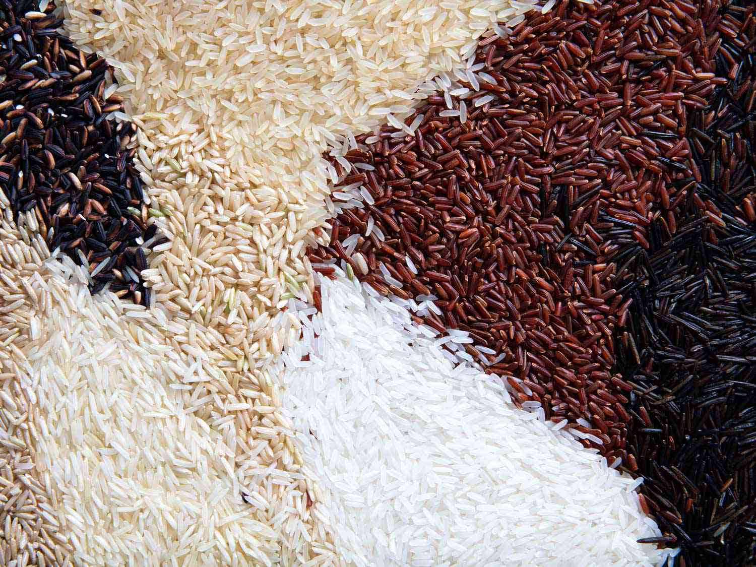 an array of different types of rice flat lay