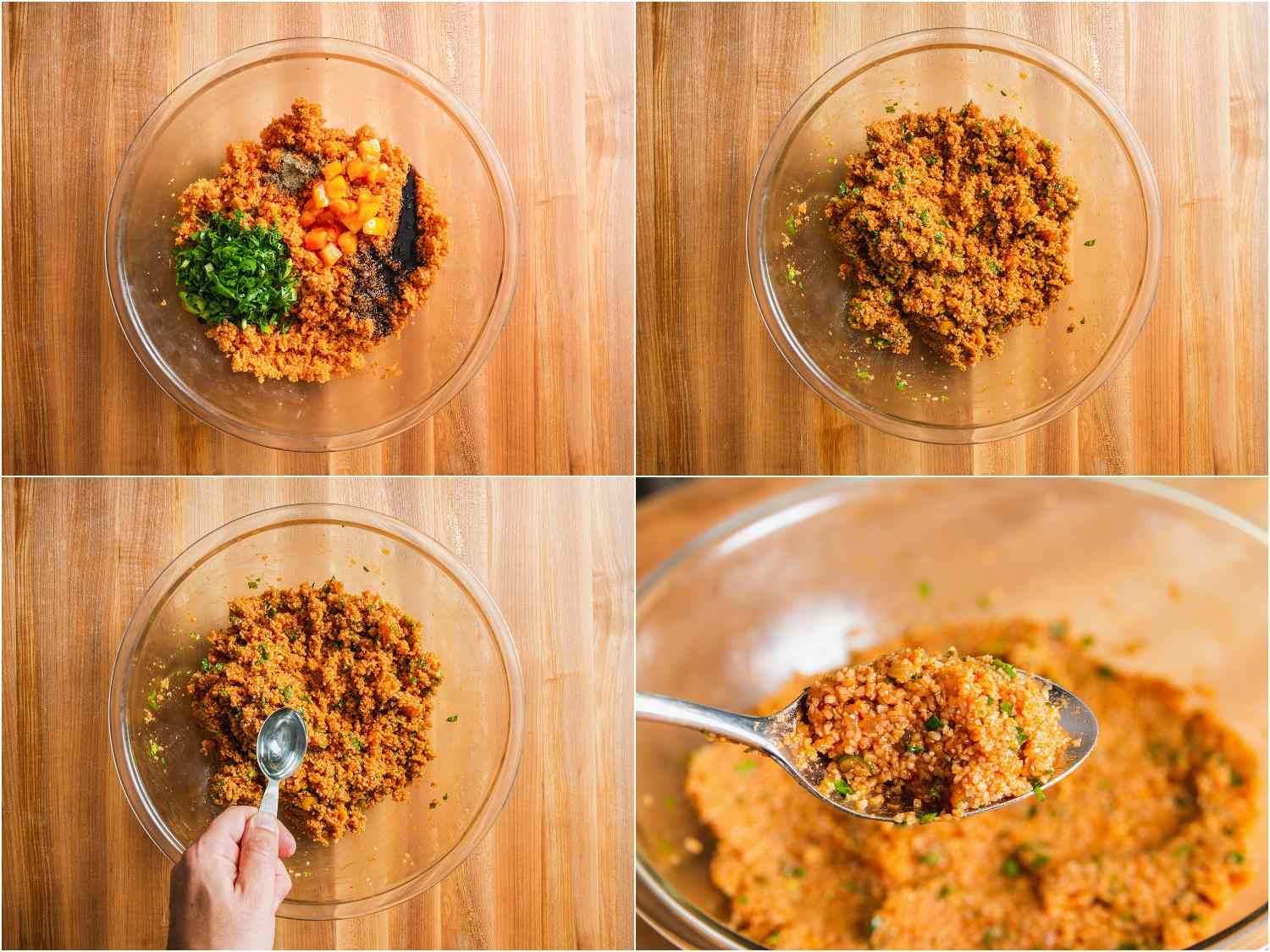 Mixing tomatoes, herbs, and water with bulgur to achieve proper texture for eetch.