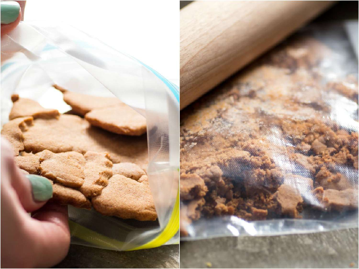 Cookie scraps in a bag being crushed by a rolling pin