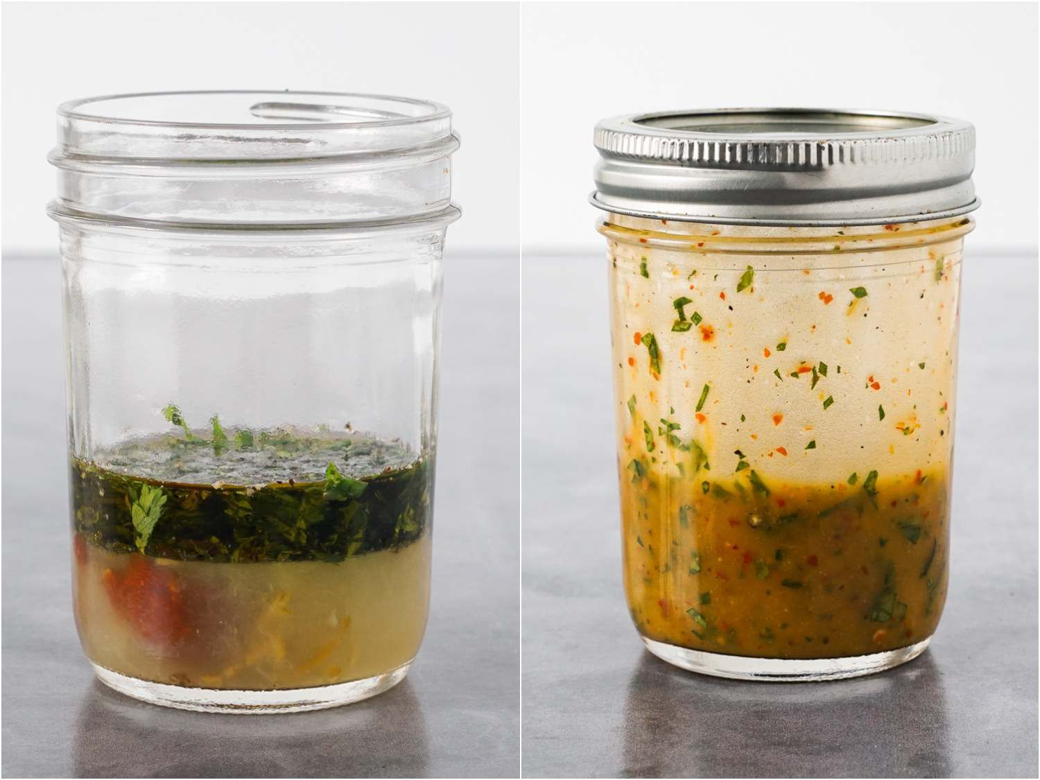 collage: before and after of mixing dressing in a small jar