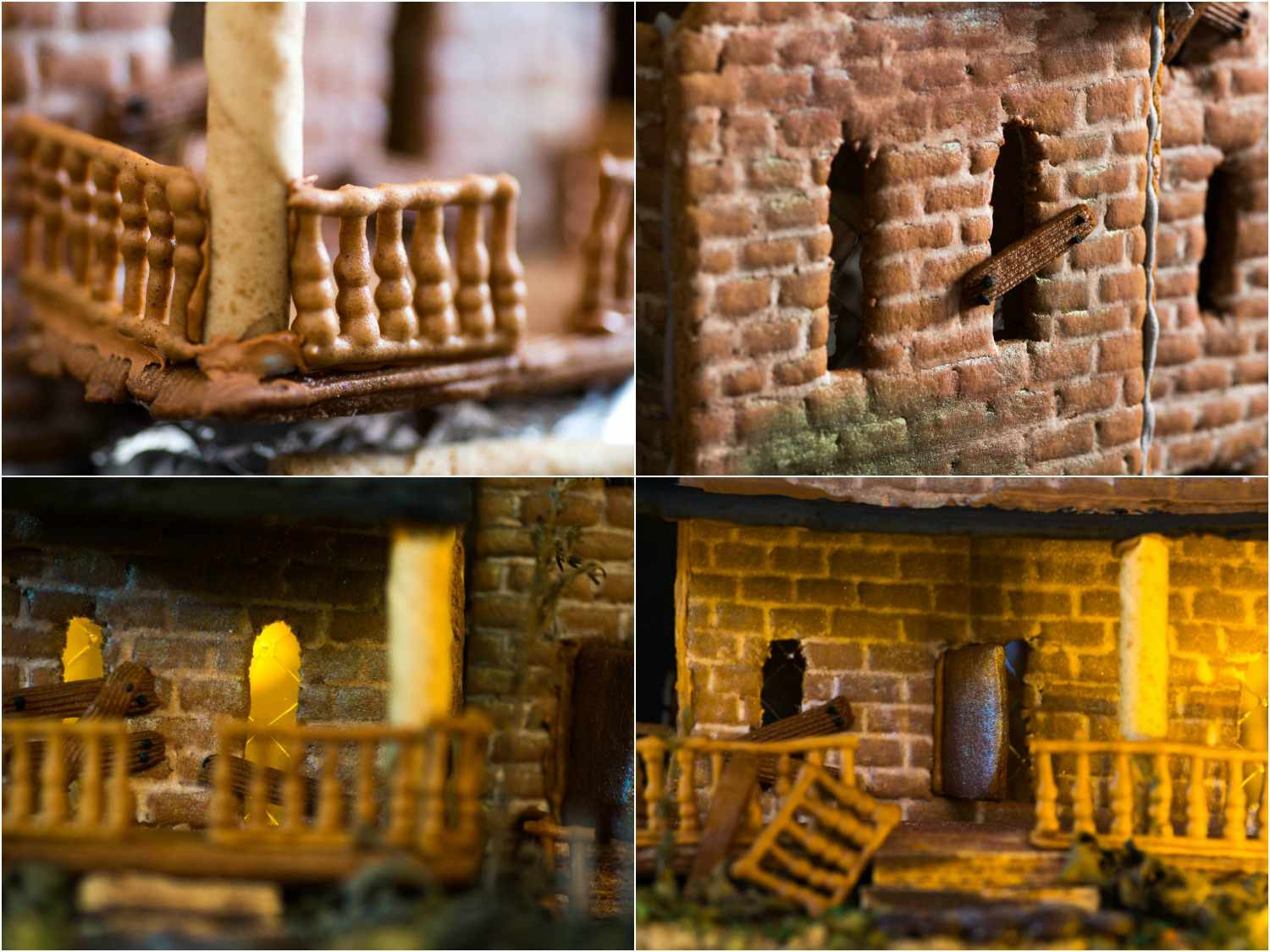 Collage of photos of dilapidated details of gingerbread house: piped gingerbread-paste railings along the porch, boarded-up window