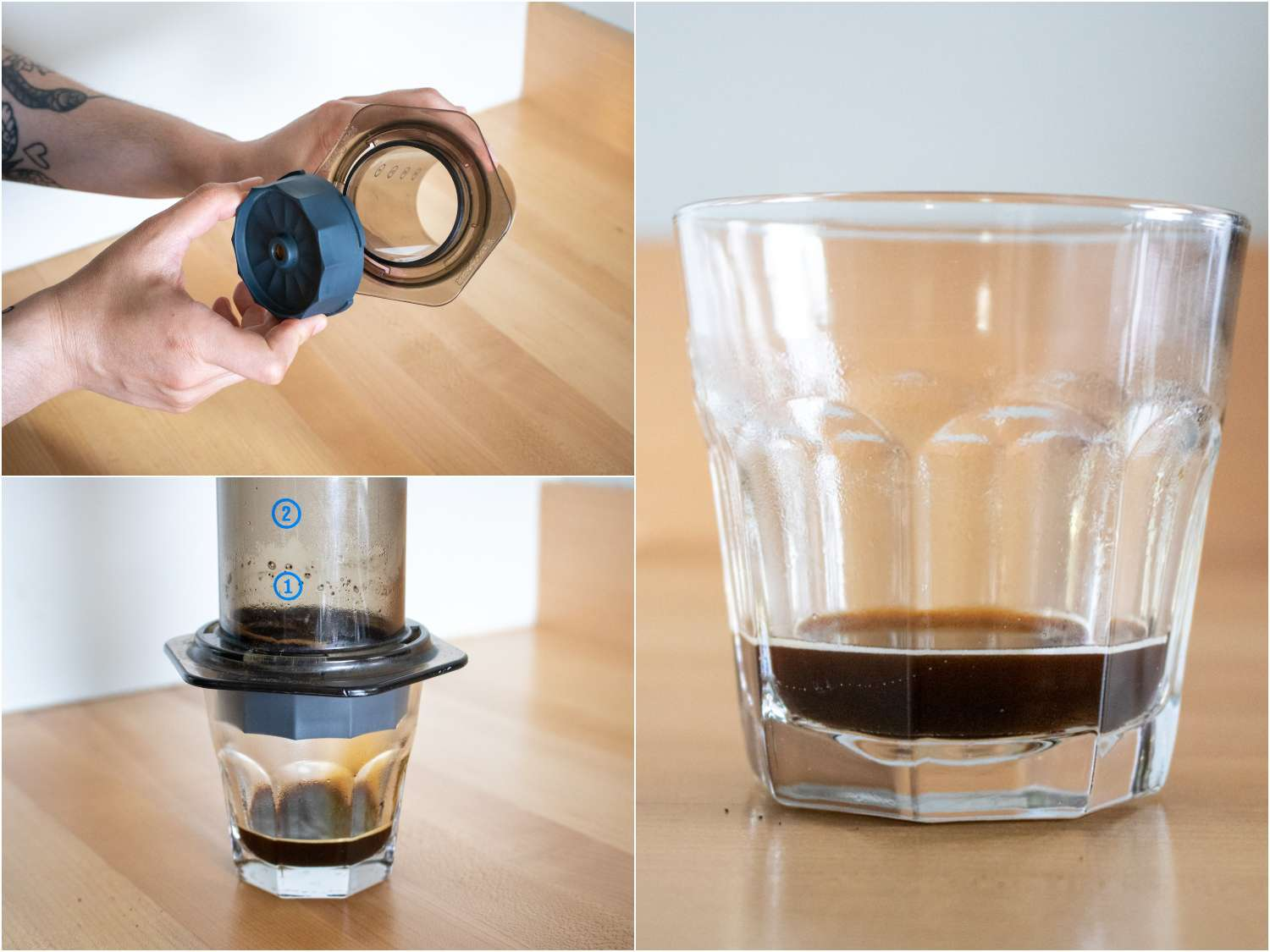 collage of the Fellow Prismo, Pressure-Actuated Attachment for AeroPress in use: connecting attachment to Aeropress; pushing down to extract espresso; a shot of espresso in a glass