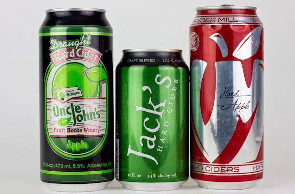 Cans of Uncle Johns, Jacks Hard Cider, and Hard Apple canned cider.