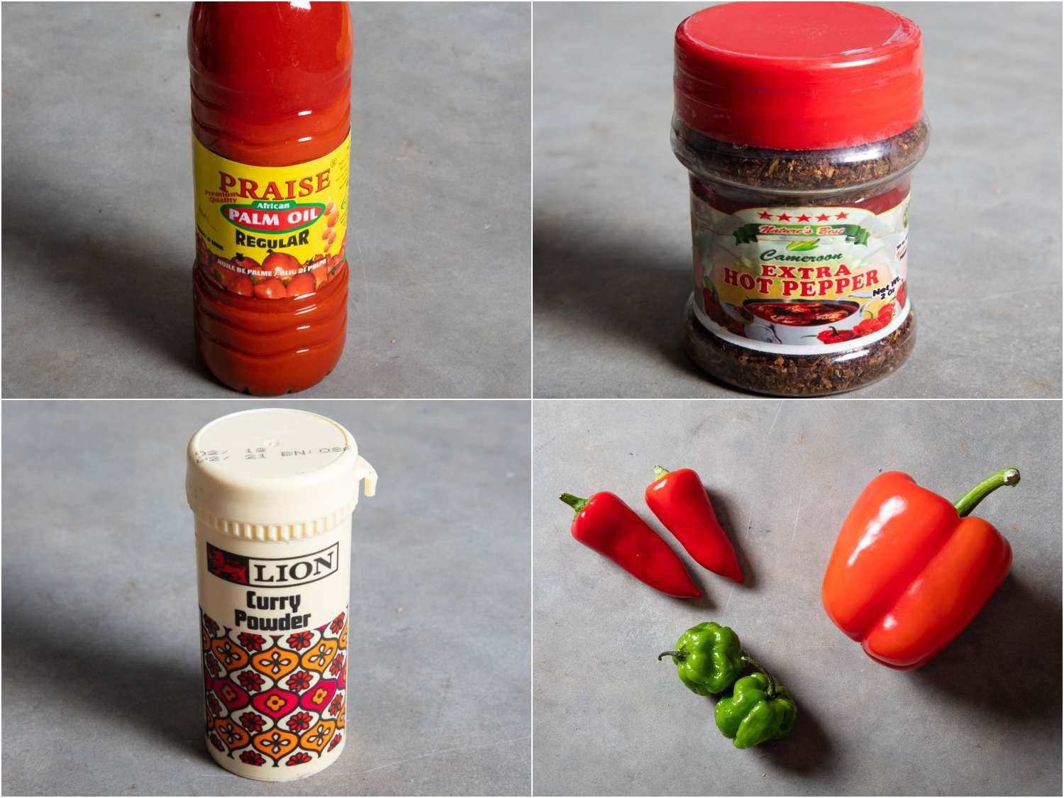 Some of the core ingredients in obe ata: palm oil, Cameroon pepper, both red peppers plus hot ones like habaneros and fresno chilies, and Nigerian curry powder.