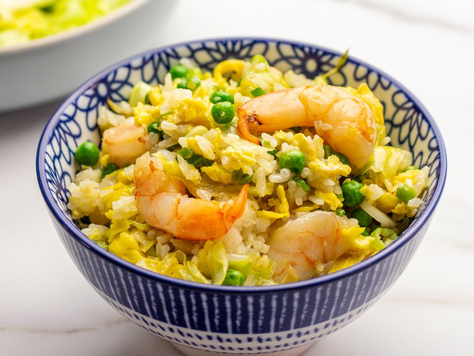 shrimp fried rice in a small bowl
