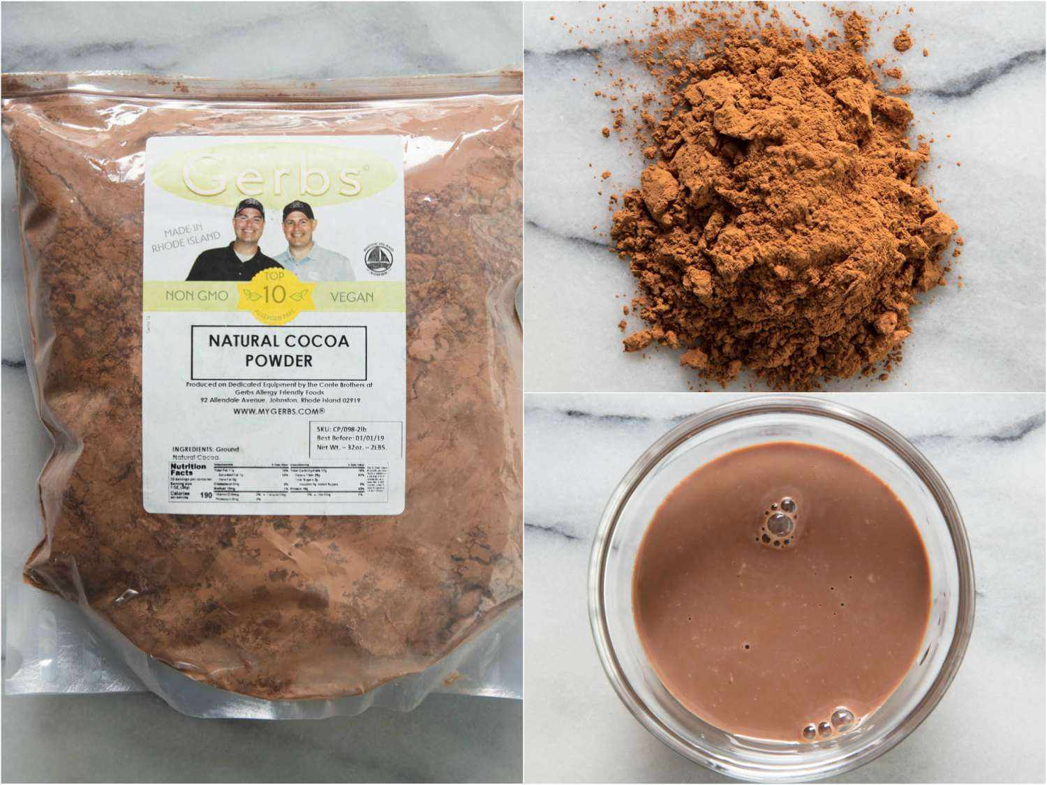 Collage of Gerbs cocoa powder, by itself, in hot cocoa, and in the packaging