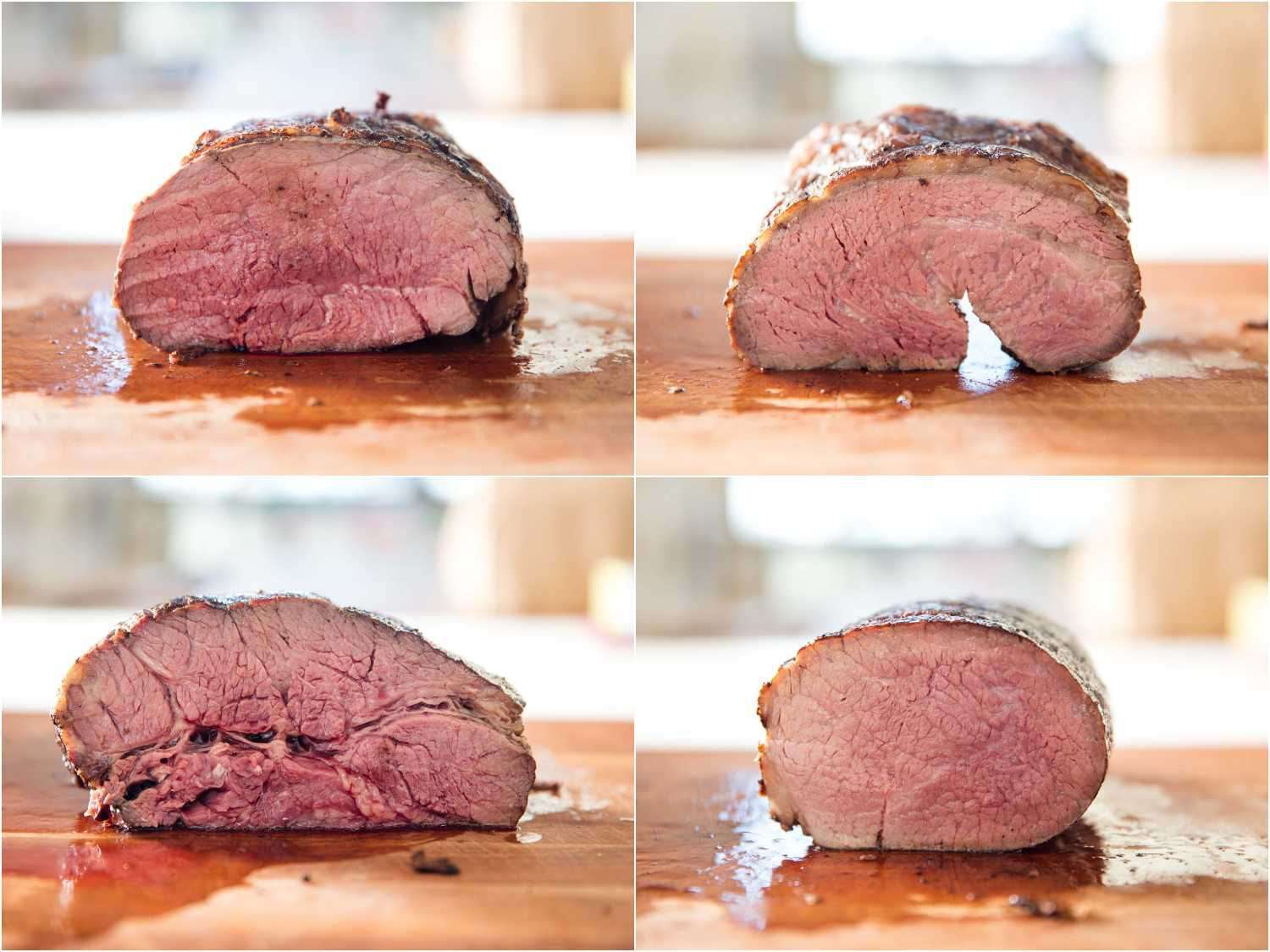 Cross-section interior shots of four different cuts of roast beef.