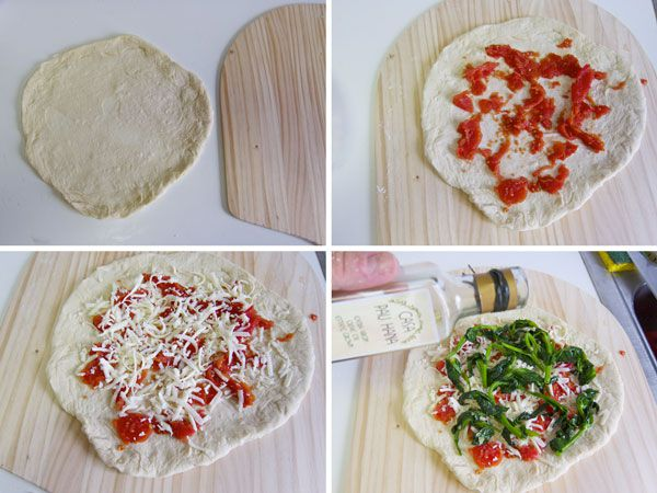 homemade pizza with pea shoots