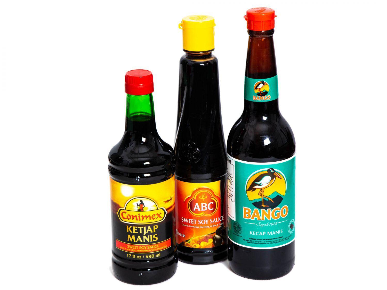 Three bottles of kecap manis