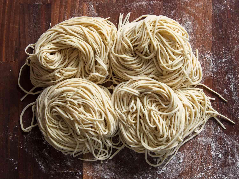 Four nests of homemade ramen noodles