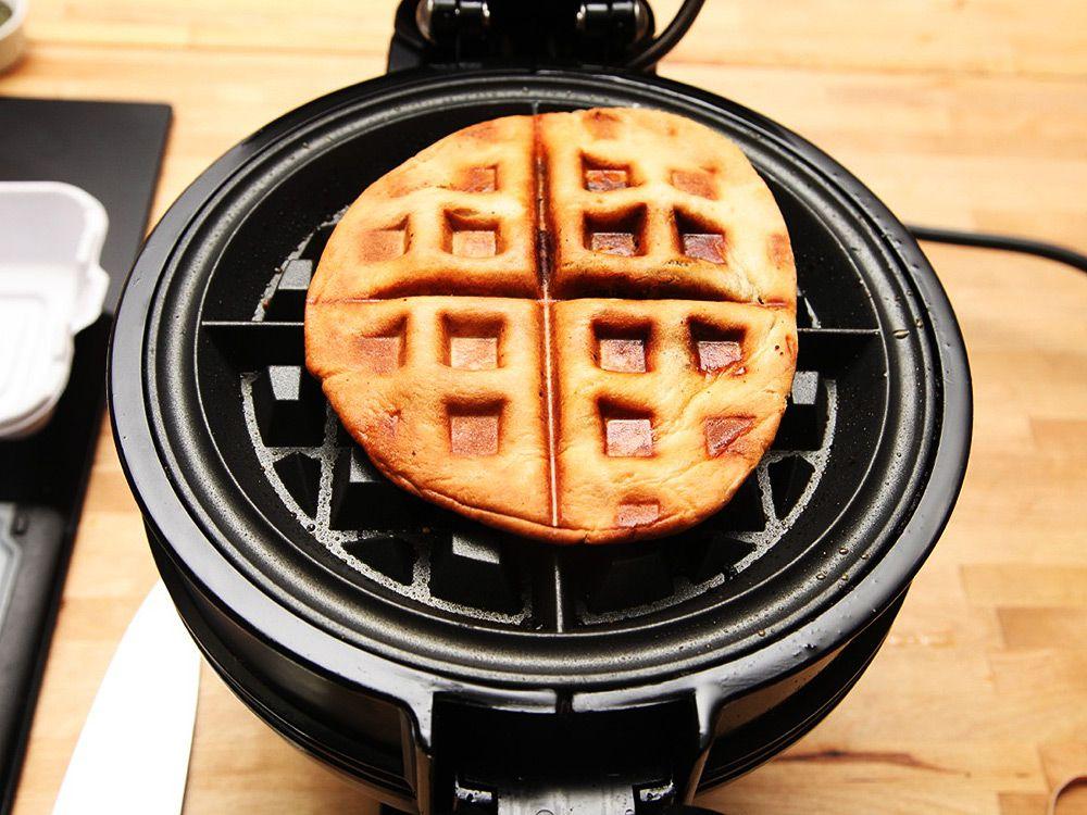A falafel sandwich pressed on a waffle iron.