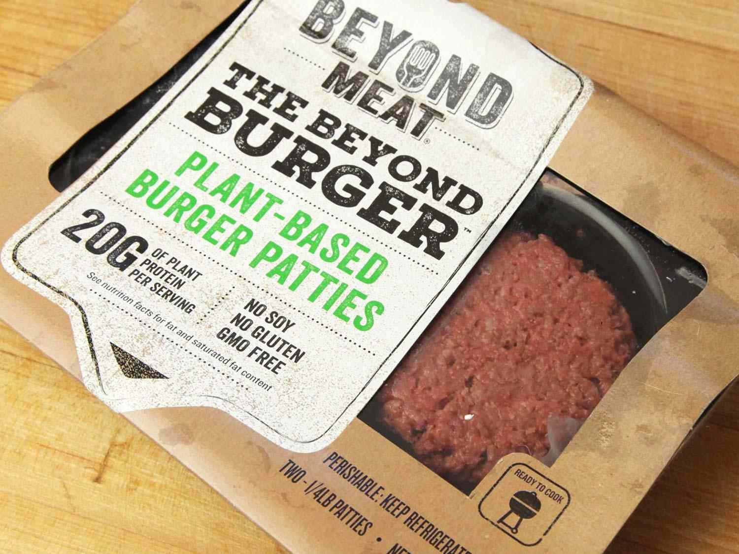 A package of Beyond Meat plant-based burger patties.