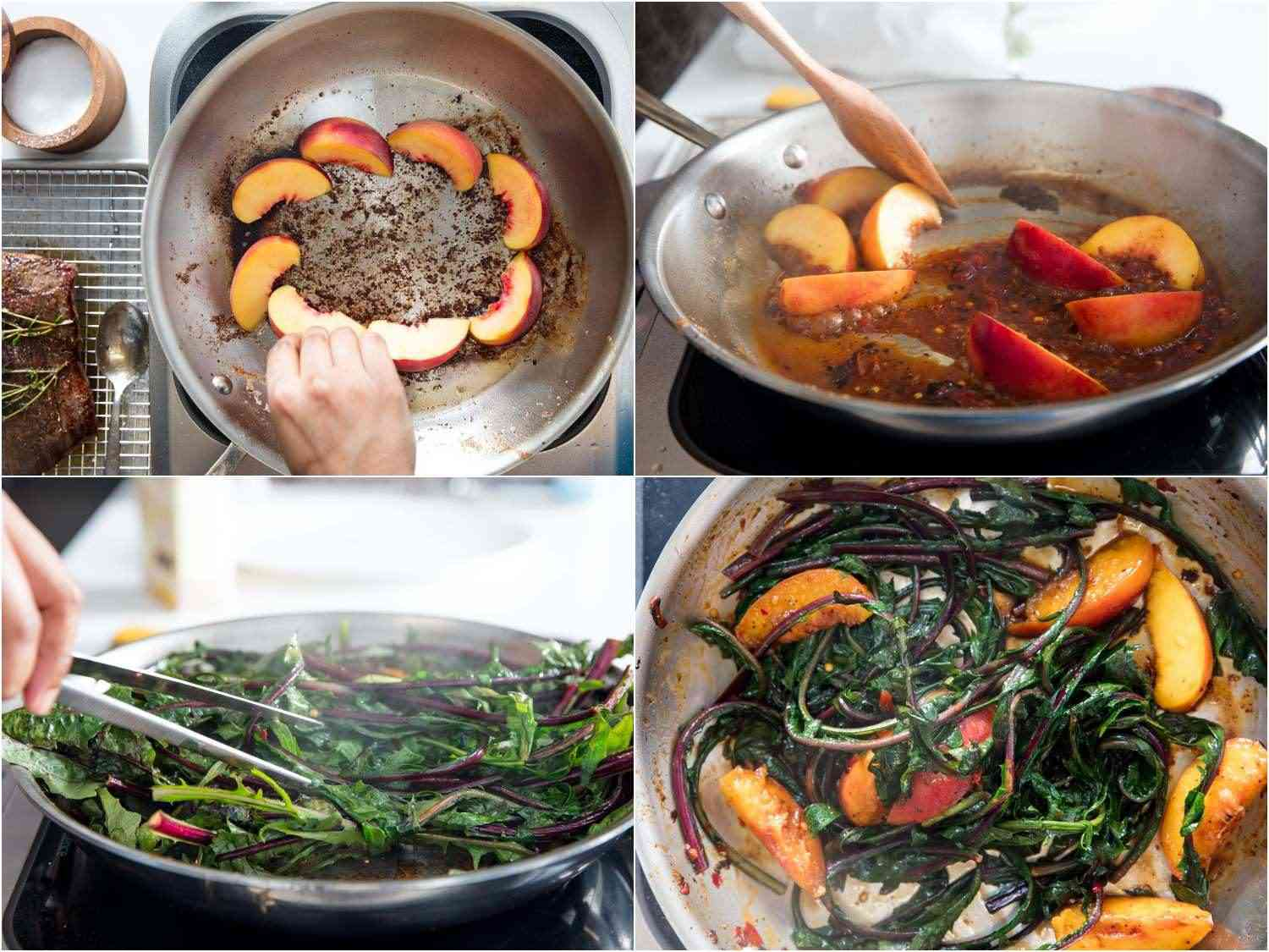 Collage of photos of cooking peaches and greens to accompany flank steak: placing peach slices in the fond in a skillet, stirring the peaches and pan sauce, adding dandelion greens to wilt, skillet full of seared peach slices and wilted greens