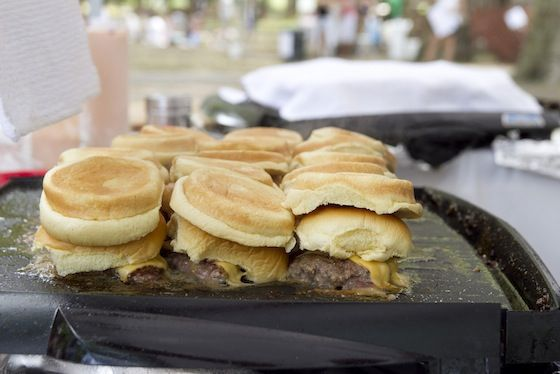In-N-Out style burgers on pan