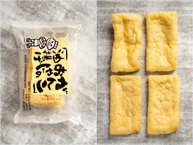 collage: aburaage tofu in packaging; unpackaged