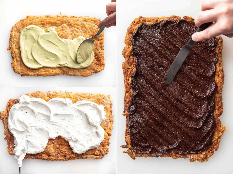 spreading pistachio cream, whipped Greek yogurt, and hazelnut spread over a crispy crust