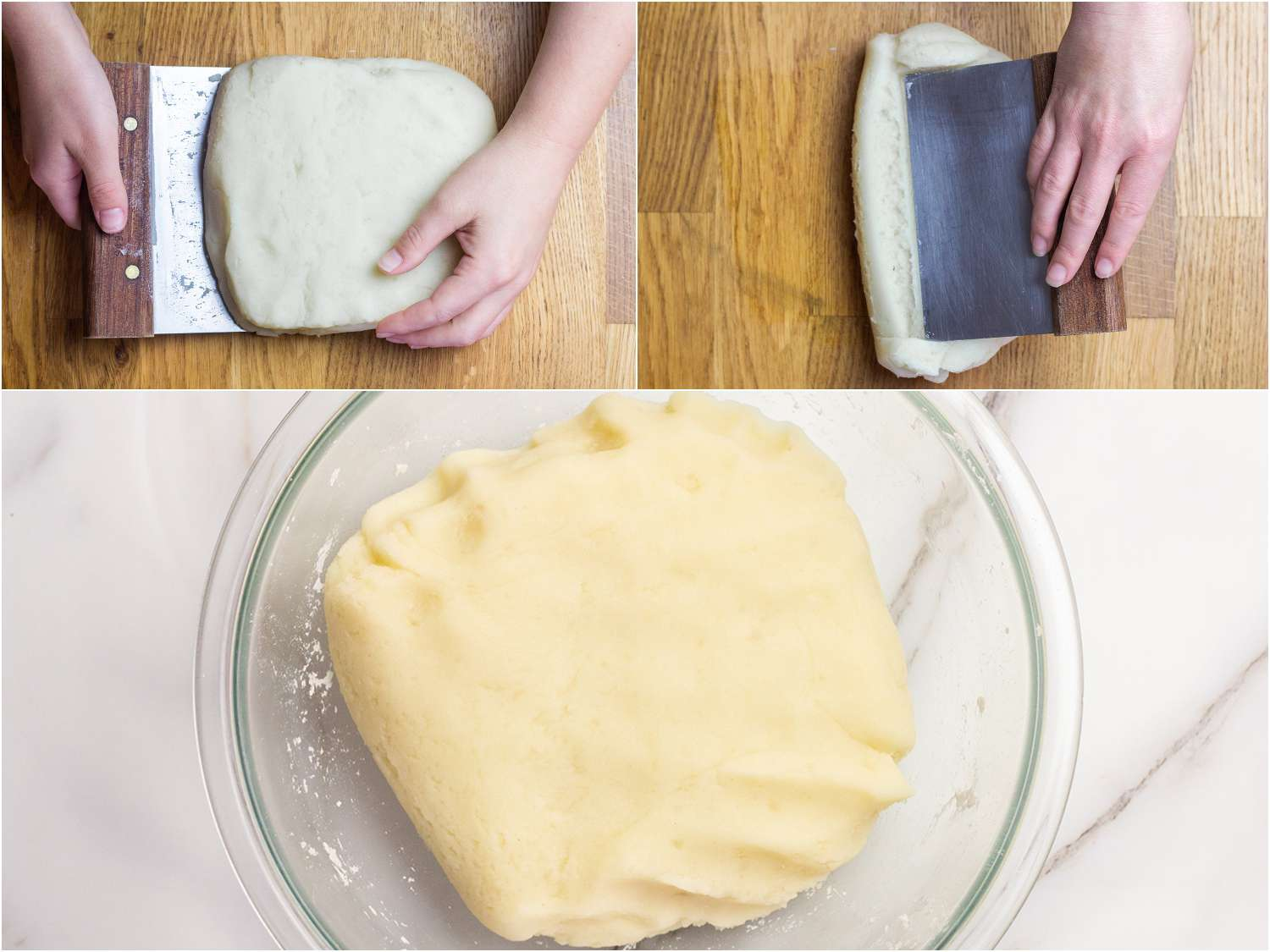 Collage of photos showing kneading of potato and potato starch dough